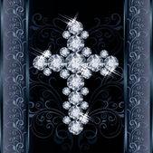 Diamond Christian Cross, greeting card, vector illustration — Stock Vector