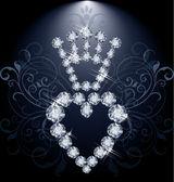 Brilliant diamond crown and heart, vector illustration — Stock Vector