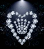 Diamond Queen crown and heart, vector illustration — Stock Vector