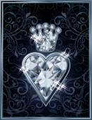 Diamond Poker hearts royal card, vector illustration — Wektor stockowy
