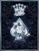 钻石扑克锹皇家卡,矢量图 — 图库矢量图片