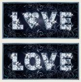Diamond Love banners, vector illustration — Stockvektor