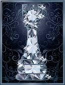 Diamond chess Rook card, vector illustration — Stock Vector