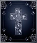 Diamond Easter cross cover design, vector illustration — Stock Vector