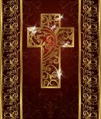 Golden Easter cross, invitation card, vector illustration — Vetor de Stock