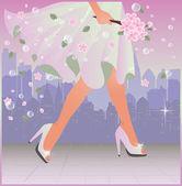 Spring urban woman, vector illustration — Stock Vector