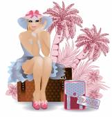 Summer travel sexual woman, vector illustration — Vecteur