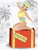 Summer travel beauty girl pinup, vector illustration — Vecteur