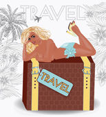 Summer travel sexy pin up girl, vector illustration — Stock Vector