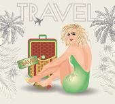 Summer  travel pin up girl, vector illustration — Vecteur