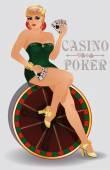 Casino poker sensual pin up girl, vector illustration — Stock Vector