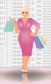 Plus size shopping blonde woman, vector illustration — Stock Vector