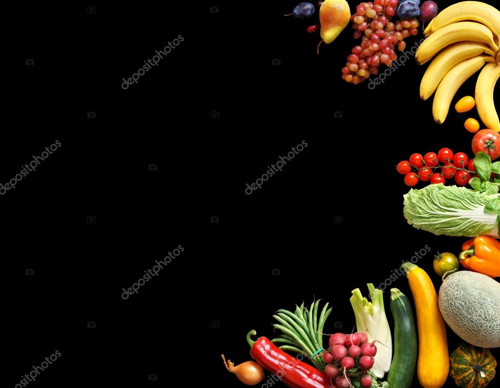 Food background studio photo of different fruits and vegetables - Deluxe Food Background Food Photography Different Fruits And Vegetables Isolated Black Background Copy Space High Resolution Product Photo By