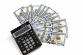 Financial calculator and US money — Stock Photo