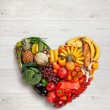 Heart symbol. Fruits diet concept. Healthy eating concept — Stock Photo #57444401