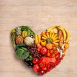 Heart symbol. Fruits diet concept. Healthy eating concept — Stock Photo #57444437