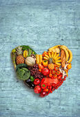 Heart symbol. Fruits diet concept. Healthy eating concept — Stock Photo