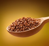 Roasted buckwheat in a wooden spoon — Stock Photo