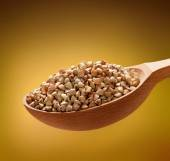 Buckwheat groats in a wooden spoon — Stock Photo
