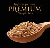 Pearl barley in a wooden spoon — Stock Photo