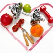Sporty still life. Heart shape arrangement — Stock Photo #65042771