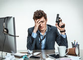 Modern office man at working place, depression and crisis concept — Stock Photo