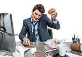 Talking on the phone and looking down young business man at working place, sloth and laziness concept — Stock Photo