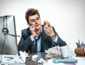 Modern office man at working place, sloth and laziness concept — Stock Photo