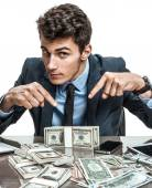 Employer showing his motivation earnings, profit, income, earnings, gain, benefit, margin — Stock Photo