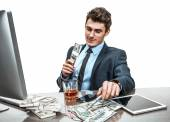 Top manager celebrating with a glass of whiskey, relaxing in break time — Stock Photo