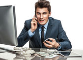 Successful businessman talking by cell phone — Stock Photo