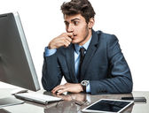 Dull entrepreneur dissatisfied with his profit, income, earnings, gain, benefit, margin — Stock Photo