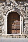 Wooden door. Guardia Perticara. Basilicata. Italy. — Stock Photo