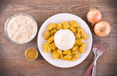 Chicken curry with rice Caribbean. — Stock Photo