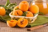 Peaches with jam. — Stock Photo