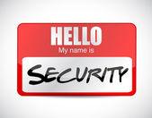 Hello security name tag illustration design — Stock Photo