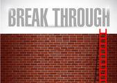 Break through brick wall illustration design — Stock Photo