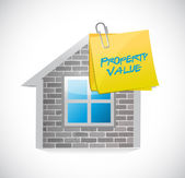 Property value home post illustration design — Stock Photo