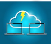 Cloud computing laptop electricity illustration — Stock Photo
