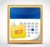 är du redo kalender illustration design — Stockfoto