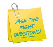Ask the right questions post message illustration — Stock Photo