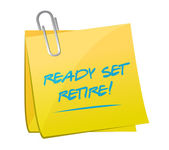 Ready set retire post memo illustration design — Stock Photo