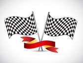 Checker flag and red ribbon illustration design — Stock Photo