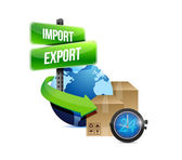 Import and export globe and box and watch — Stock Photo