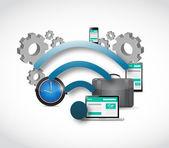 Cloud computing connection concept illustration — Stock Photo