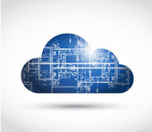 Cloud computing and blueprint illustration design — Stock Photo