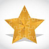 Gold star puzzle illustration design over — Foto de Stock
