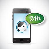 Phone 24 hour customer support illustration — Foto Stock
