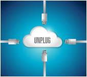 Unplug from a cloud concept illustration — Stock Photo