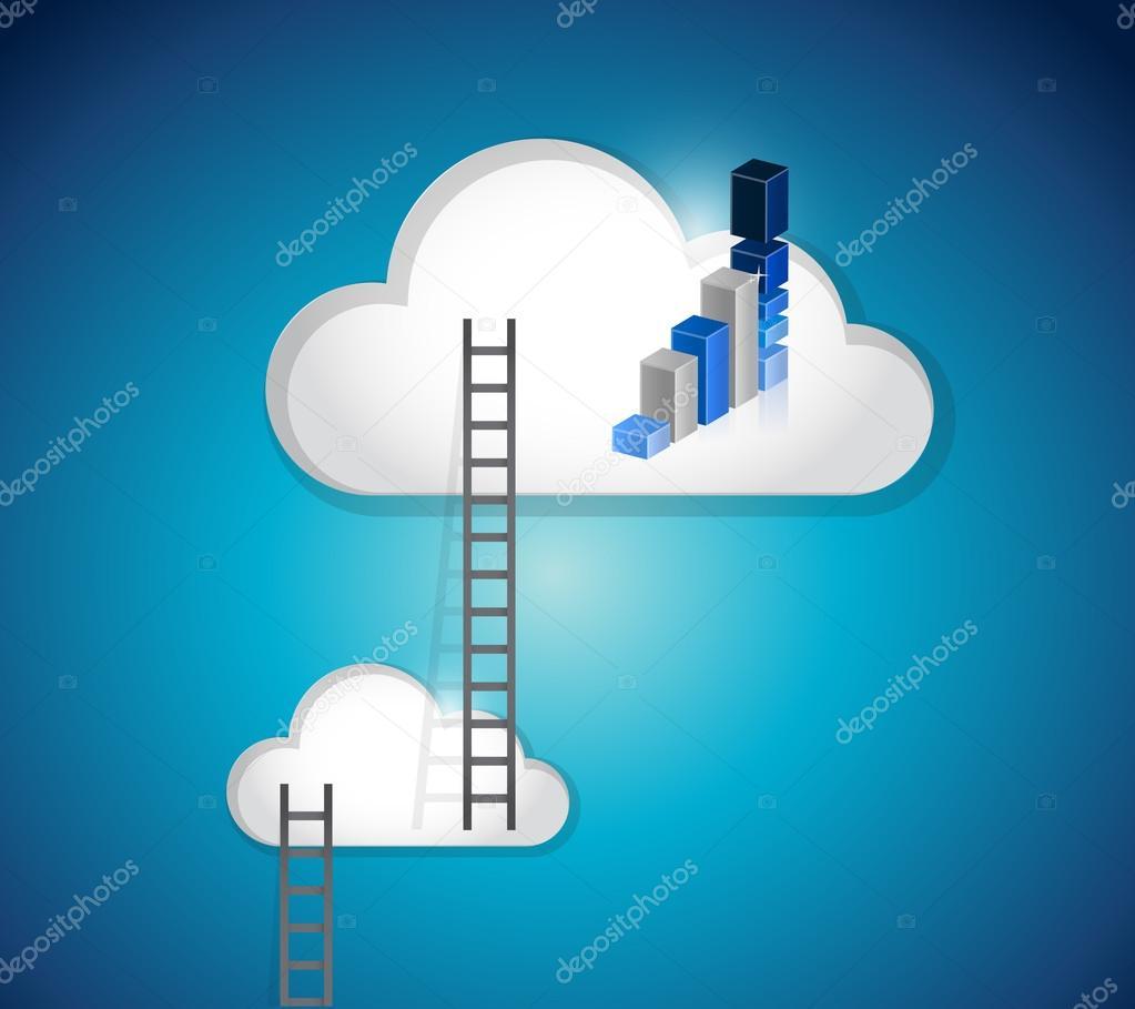 Scale di cloud e disegno dellillustrazione del grafico blu — foto ...